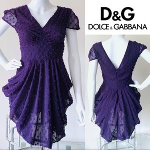 D&G • Draped w/ Dots Mini Cocktail Sheer Dress MED